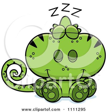 Clipart Cute Sleeping Green Chameleon Lizard - Royalty Free Vector Illustration by Cory Thoman
