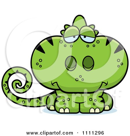 Clipart Cute Depressed Green Chameleon Lizard - Royalty Free Vector Illustration by Cory Thoman