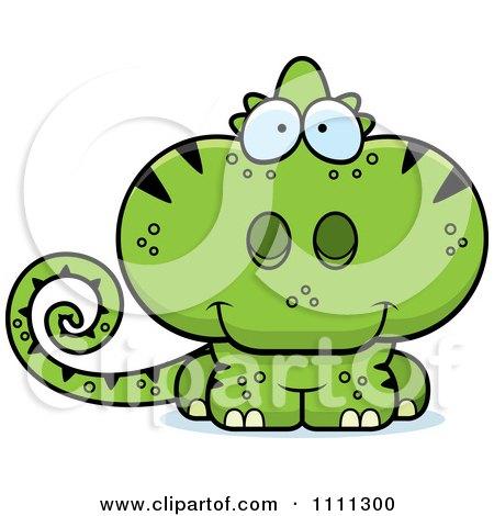 Clipart Cute Green Chameleon Lizard Royalty Free Vector Illustration