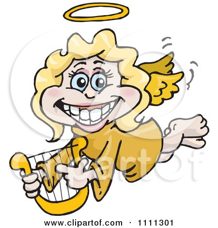 Clipart Grinning Blond Female Angel Holding A Lyre Royalty Free Vector Illustration