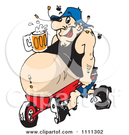 Clipart Man With A Beer Resting On His Beer Belly Propped In A Wheel Barrow - Royalty Free Vector Illustration by Dennis Holmes Designs