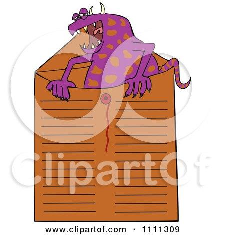 Clipart Office Monster In An Envelope - Royalty Free Vector Illustration by djart
