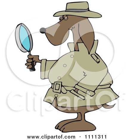 Clipart Private Detective Dog Using A Magnifying Glass - Royalty Free Vector Illustration by djart