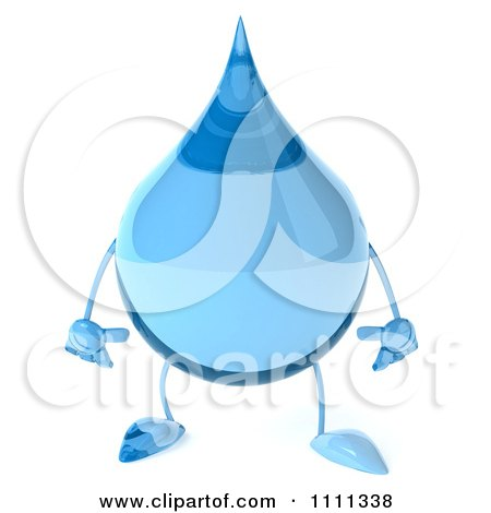 Blue Water Droplet Character Holding A Bottle Of Water ...