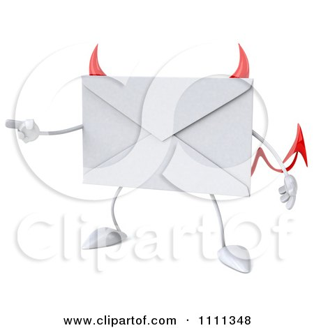 Clipart 3d Devil Email Envelope Character Pointing - Royalty Free CGI Illustration by Julos