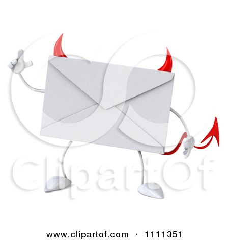 Clipart 3d Devil Email Envelope Character With An Idea - Royalty Free CGI Illustration by Julos