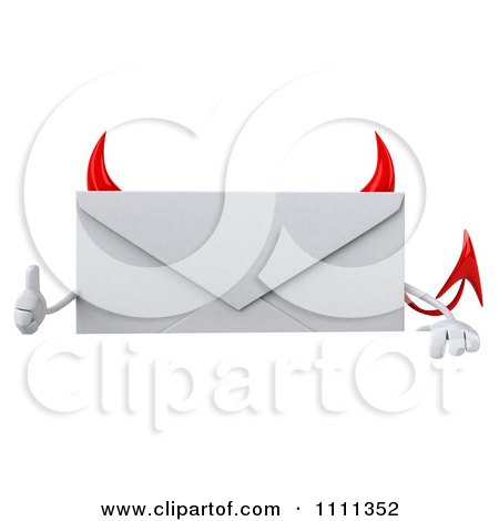Clipart 3d Devil Email Envelope Character Over A Sign With A Thumb Up - Royalty Free CGI Illustration by Julos