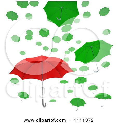 Clipart 3d Red Umbrella Standing Out From Green Umbrellas Floating In The Air - Royalty Free CGI Illustration by Mopic
