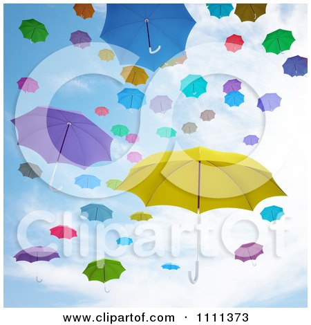 Clipart 3d Colorful Umbrellas Floating Against A Sky - Royalty Free CGI Illustration by Mopic