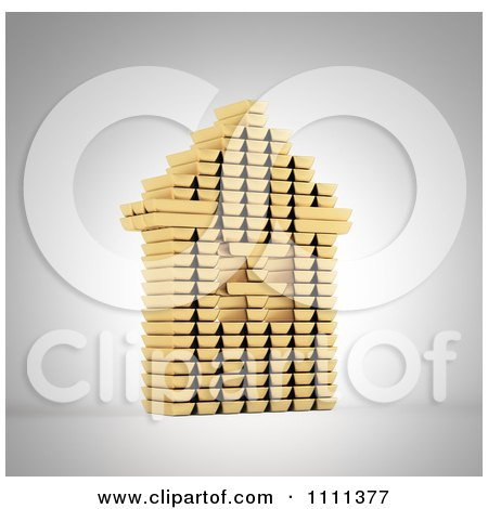 Clipart 3d House Built Ouf Of Gold Bars - Royalty Free CGI Illustration by Mopic