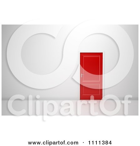 Clipart 3d Red Door In A Wall - Royalty Free CGI Illustration by Mopic