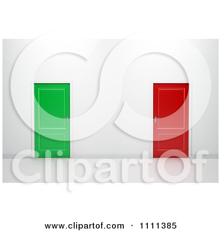 Clipart 3d Red And Green Doors In A Wall - Royalty Free CGI Illustration by Mopic