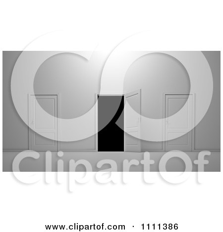 Clipart 3d Closed Doors And One Leading To Darkness - Royalty Free CGI Illustration by Mopic