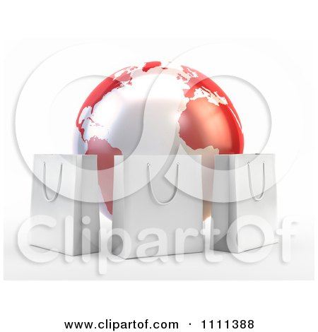 Clipart 3d Shopping Bags Around A Red And White Globe - Royalty Free CGI Illustration by Mopic