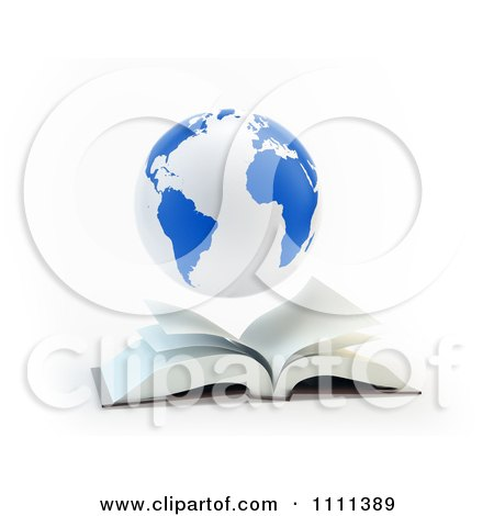 Clipart 3d Blue And White Globe Hovering Over An Open Book - Royalty Free CGI Illustration by Mopic