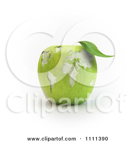 Clipart 3d Carved Green Apple With A World Map - Royalty Free CGI Illustration by Mopic