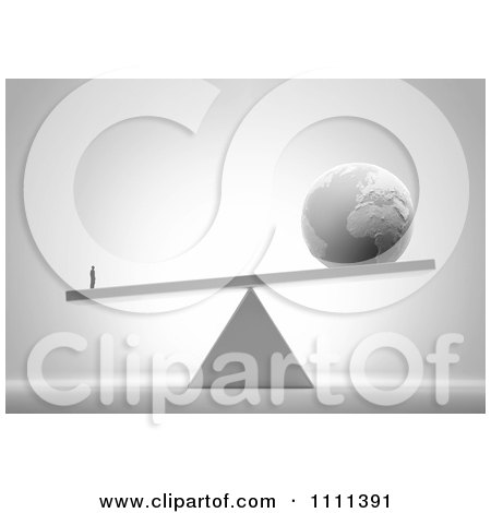 Clipart 3d Tiny Businessman Weighing More Than The World On A Teeter Totter - Royalty Free CGI Illustration by Mopic