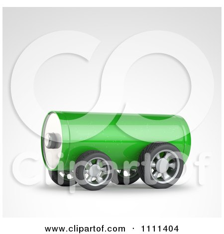 Clipart 3d Green Battery On Wheels - Royalty Free CGI Illustration by Mopic