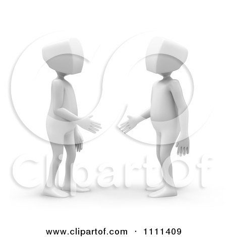 Clipart 3d White People Shaking Hands And Making Introductions - Royalty Free CGI Illustration by Mopic
