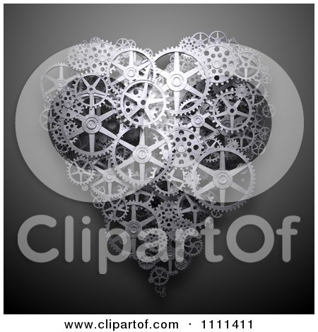 Clipart 3d Heart Made Of Gear Cog Wheels On Gray - Royalty Free CGI Illustration by Mopic