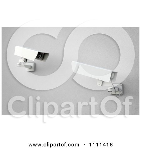 Clipart 3d Security Surveillance Cameras Viewing Each Other - Royalty Free CGI Illustration by Mopic