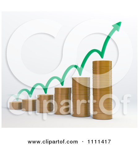 Clipart 3d Stacked Coin Bar Graph With A Bouncing Arrow - Royalty Free CGI Illustration by Mopic
