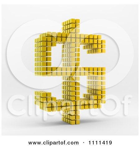 Clipart 3d Gold Cubes Forming A Dollar Currency Symbol - Royalty Free CGI Illustration by Mopic