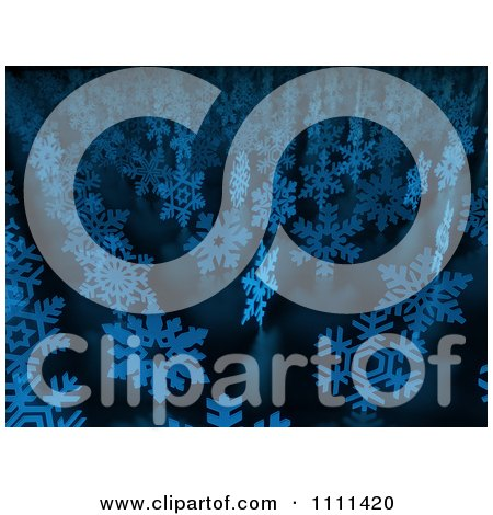 Clipart 3d Blue Snowflakes In Rows - Royalty Free CGI Illustration by Mopic