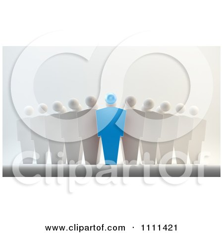 Clipart 3d Blue Leader And Team - Royalty Free CGI Illustration by Mopic
