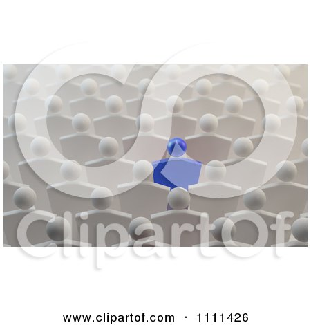 Clipart 3d Blue Person Standing Out In A Crowd Of White People - Royalty Free CGI Illustration by Mopic