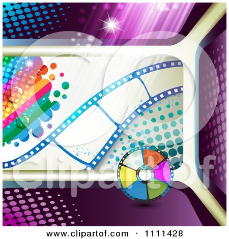 Clipart Film Strip With Rainbow Halftone And Disc - Royalty Free Vector Illustration by merlinul