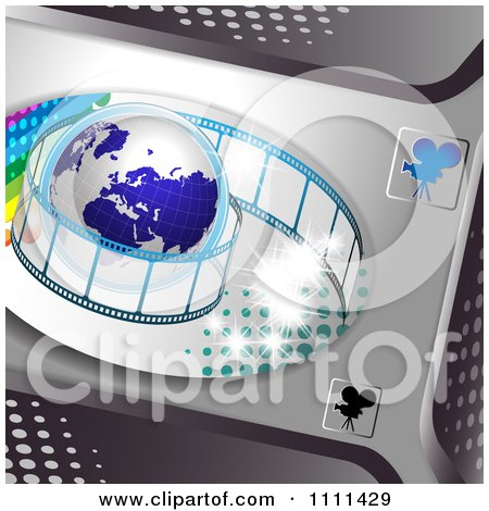 Clipart Film Roll Around A Globe On Metal 3 - Royalty Free Vector Illustration by merlinul