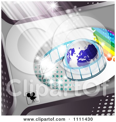Clipart Film Roll Around A Globe On Metal 2 - Royalty Free Vector Illustration by merlinul