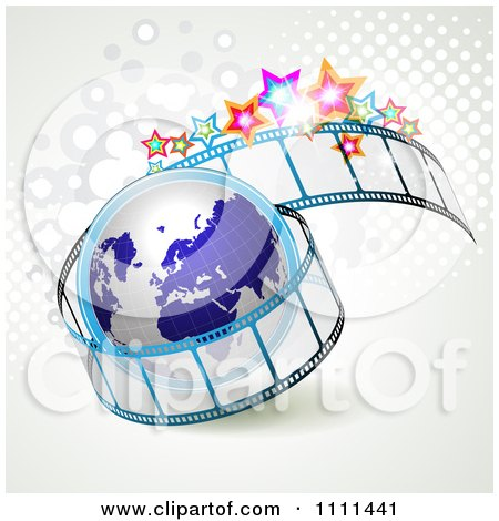 Clipart Film Roll With A Globe Halftone And Stars - Royalty Free Vector Illustration by merlinul