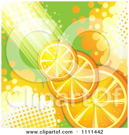 Clipart Background Of Orange Slices With Halftone And Light - Royalty Free Vector Illustration by merlinul