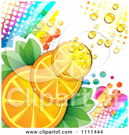 Clipart Background Of Orange Slices With Halftone Dew Rainbows And Light - Royalty Free Vector Illustration by merlinul