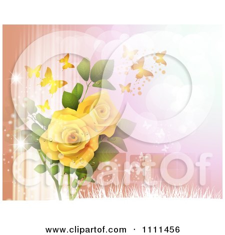 Clipart Background Of Yellow Roses And Butterflies On Peach And Pink - Royalty Free Vector Illustration by merlinul