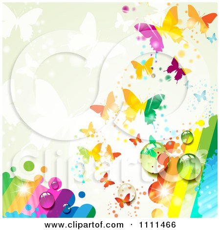 Clipart Background Of Butterflies And A Rainbow 2 - Royalty Free Vector Illustration by merlinul