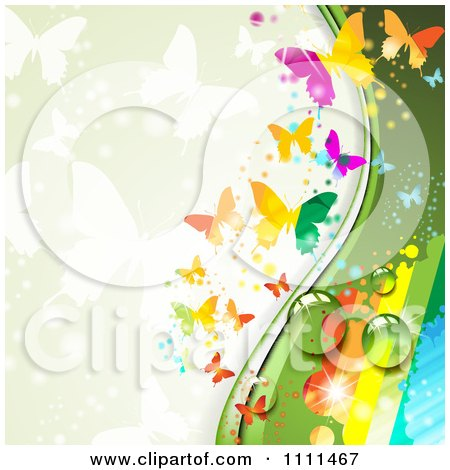 Clipart Background Of Butterflies And A Rainbow 3 - Royalty Free Vector Illustration by merlinul