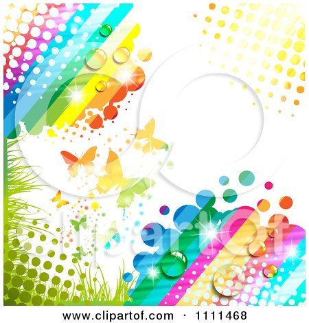 Clipart Background Of Butterflies And A Rainbow 4 - Royalty Free Vector Illustration by merlinul