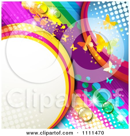 Clipart Background Of Butterflies And A Rainbow 7 - Royalty Free Vector Illustration by merlinul