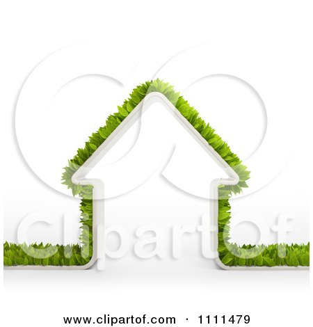 Clipart 3d Border Of Leaves Around A Home - Royalty Free CGI Illustration by Mopic
