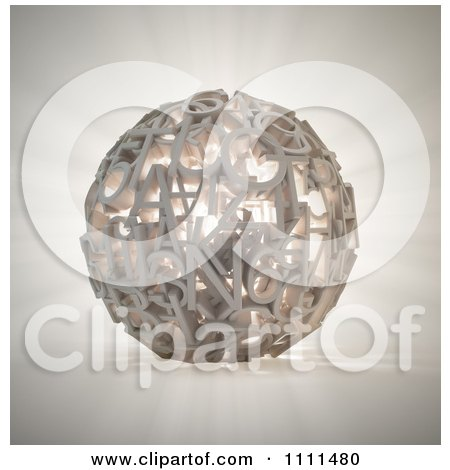 Clipart 3d Glowing Sphere Composed Of Letters And Numbers - Royalty Free CGI Illustration by Mopic
