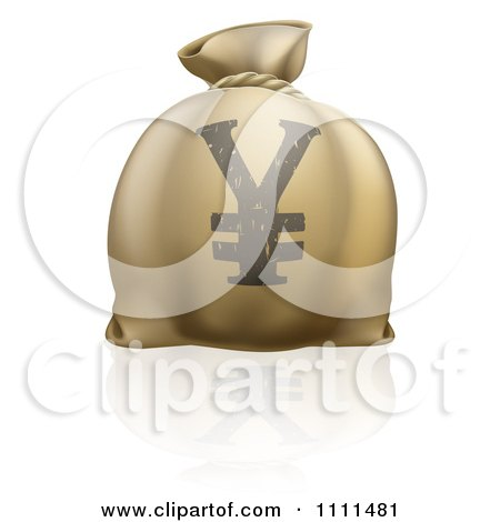 Clipart 3d Money Bag With A Yen Currency Symbol And Reflection - Royalty Free Vector Illustration by AtStockIllustration