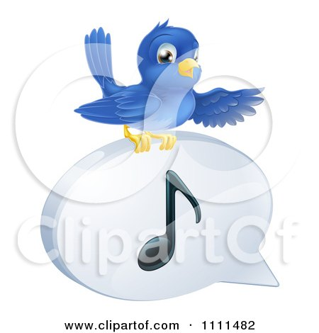 Clipart Pointing Bluebird On A Music Note Speech Balloon - Royalty Free Vector Illustration by AtStockIllustration
