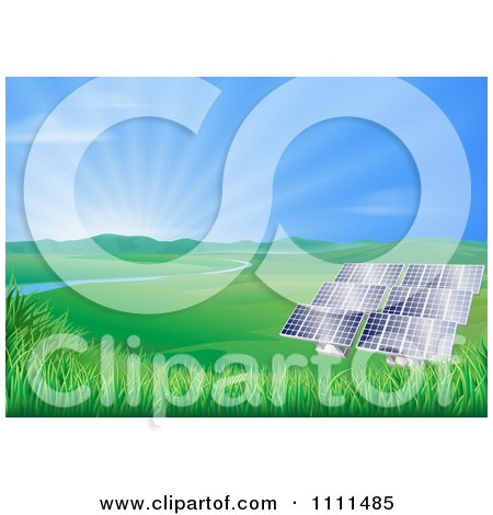 Clipart Valley With Solar Panels Creating Sustainable Energy - Royalty Free Vector Illustration by AtStockIllustration