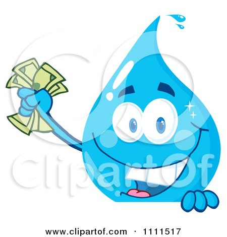 Clipart Water Drop Holding Money Over A Sign - Royalty Free Vector Illustration by Hit Toon