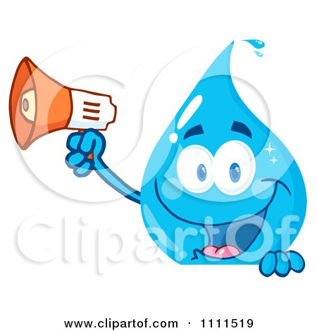 Clipart Water Drop Holding A Megaphone Over A Sign - Royalty Free Vector Illustration by Hit Toon