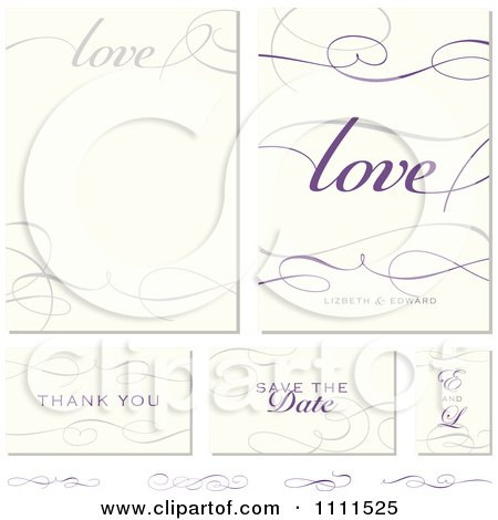 Clipart Love And Swirl Frames And Wedding Cards With Sample Text - Royalty Free Vector Illustration by BestVector