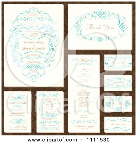 Clipart Wedding Invitation Designs With Sample Text And Blue Swirls - Royalty Free Vector Illustration by BestVector